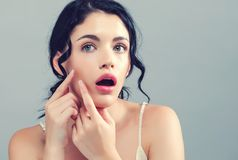 Free Young Woman With Skin Blemish Theme Stock Images - 128892344