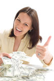 Young Woman With The Money Stock Image