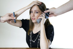 Young Woman With Three Phones Stock Images