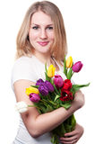 Young Woman With Tulips Royalty Free Stock Image