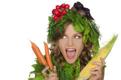 Free Young Woman With Vegetables Stock Image - 42146821