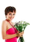 Young Woman With Wild Flowers Stock Photo