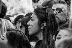 Young woman at 2017 Women`s March Los Angeles Royalty Free Stock Image