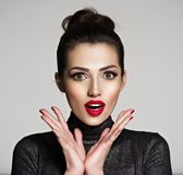 Young woman with wonder face expression. Girl`s face with a big surprise royalty free stock image