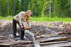 The young woman in wood saws a tree a chain saw Royalty Free Stock Photography