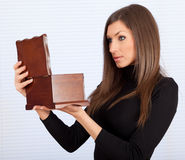 Young woman with wooden jewelry box Stock Photos