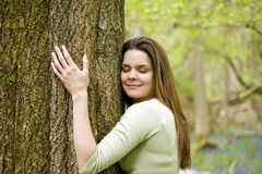 A young woman in woodland hugging a tree with her eyes closed Royalty Free Stock Image