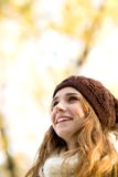 Young woman in woolen hat Royalty Free Stock Photos