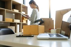 young woman work in back office stock photo