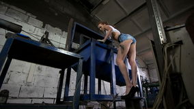 Young woman work at the factory stock video footage