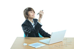 Young woman at work place Royalty Free Stock Images