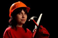 Young woman with work tools Royalty Free Stock Photo