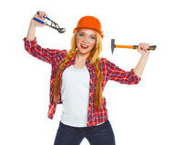 Young woman worker in helmet with the work tools on a white Stock Photography