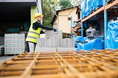 Young woman worker in an industrial area. Royalty Free Stock Photo