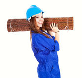 Young woman worker with wicker mat Royalty Free Stock Photography