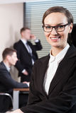 Young woman working in business centre Stock Photo