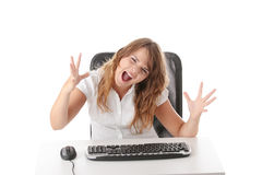 Young woman working on computer Royalty Free Stock Photo