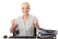 Young woman working with computer Royalty Free Stock Photo