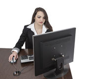 Young woman working on a computer royalty free stock photos
