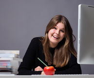 Young woman working on a computer Royalty Free Stock Images