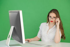 Young Woman Working on Computer Stock Images