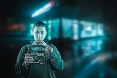 Young woman working on digital pad. stock images