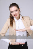 Young woman working with graph chart. Future technologies for busines, stock market concept Stock Photography