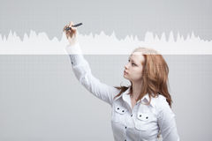 Young woman working with graph chart. Future technologies for busines, stock market concept. Royalty Free Stock Photos