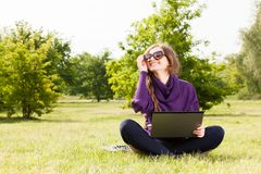 Young woman working at her laptop Royalty Free Stock Photo