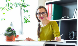 Young woman working from home - modern business concept. Beautiful young woman working from home - modern business concept stock photography