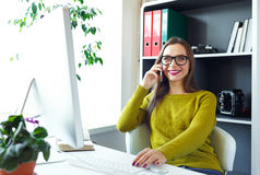 Young woman working from home - modern business concept Royalty Free Stock Photos