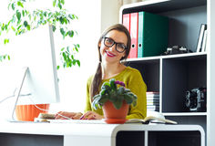 Young woman working from home - modern business concept Stock Photo