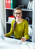 Young woman working from home - modern business concept Royalty Free Stock Images