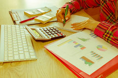 Young woman working in home, sitting at desk, using computer. Business grant and finances concept Stock Photo