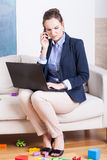 Young woman working from home Stock Images