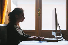 Young Woman Working at Home Royalty Free Stock Photography