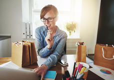 Young Woman Working at Home, Small Office Stock Images