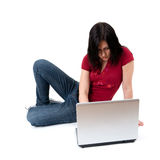 Young woman working on laptop Royalty Free Stock Image