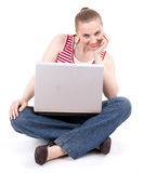 Young woman working on laptop Royalty Free Stock Photography
