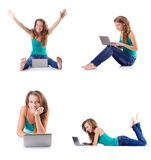 The young woman working on laptop Stock Image