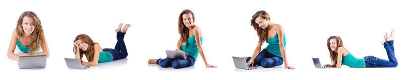 The young woman working on laptop Royalty Free Stock Images