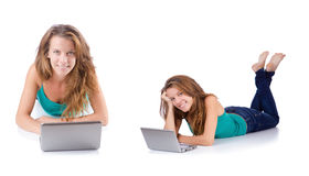 The young woman working on laptop Royalty Free Stock Photos