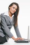 Young woman working with laptop Royalty Free Stock Photo