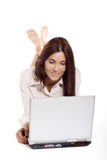 Young woman working with laptop. Business concept Stock Images