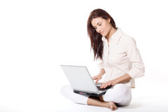 Young woman working with laptop. Business concept Stock Image