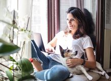 Young woman working on a laptop with her dog Stock Photo