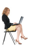 Young woman working with laptop Stock Image