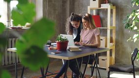 Young woman is working with laptop sitting at table in office. Her colleague is coming, women start watching screen. Young blond woman is working with laptop stock footage