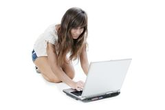 Young woman working with laptop Stock Photo