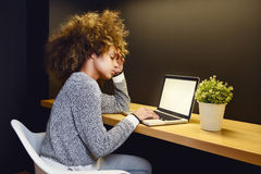 Young woman working late on a laptop Royalty Free Stock Photography